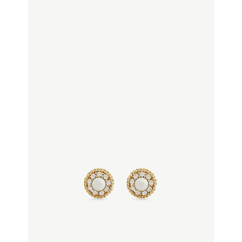 ALESSANDRA RICH PEARL, CRYSTAL AND GOLD-TONED BRASS CLIP-ON EARRINGS