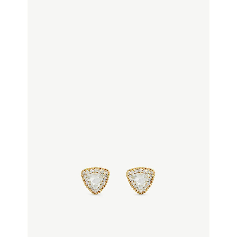Alessandra Rich GOLD-TONED METAL AND CRYSTAL CLIP-ON EARRINGS