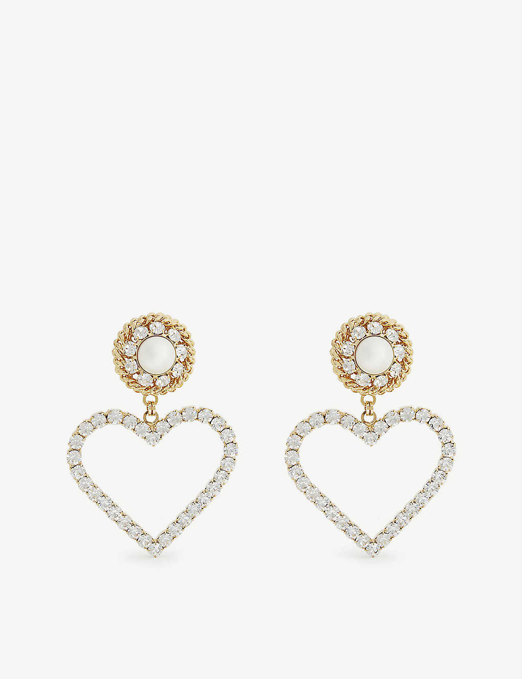 ALESSANDRA RICH: Heart faux-pearl, crystal and gold-toned metal clip-on earrings