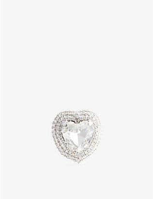 ALESSANDRA RICH: Heart crystal-embellished earrings