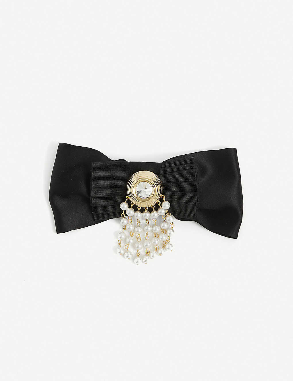 ALESSANDRA RICH: Embellished bow silk hair clip