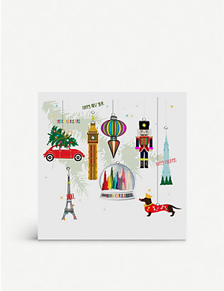 FIVE DOLLAR SHAKE: Bauble-printed greetings card 17cm x 17cm