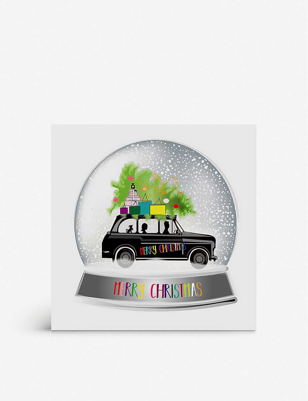 FIVE DOLLAR SHAKE: Taxi Snowglobe Christmas greetings card 17cm x 17cm