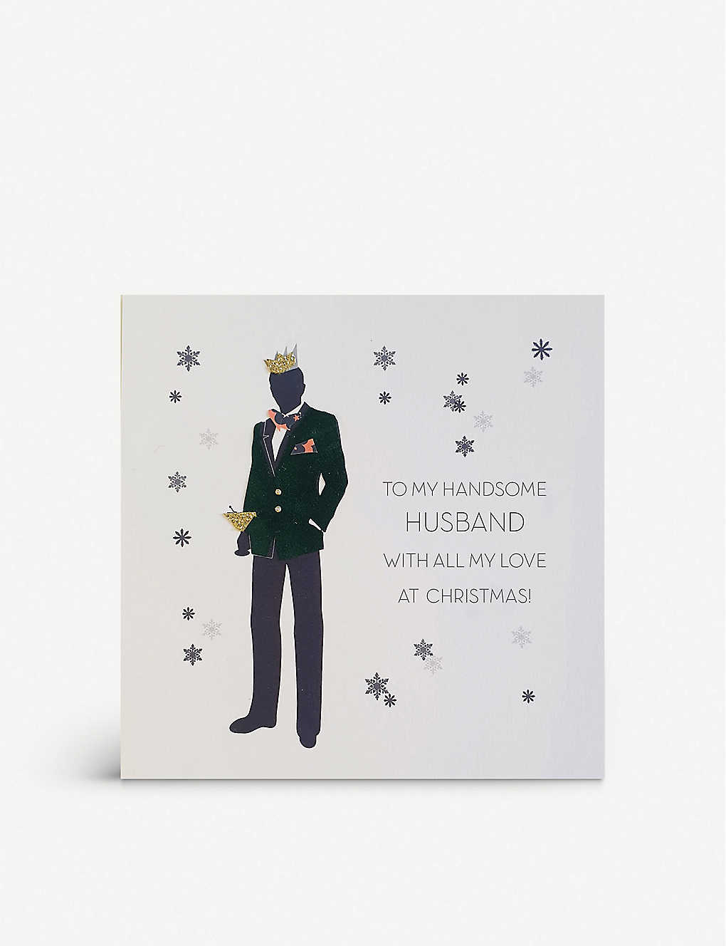 FIVE DOLLAR SHAKE: To My Handsome Husband With All My Love At Christmas greetings card 17cm x 17cm