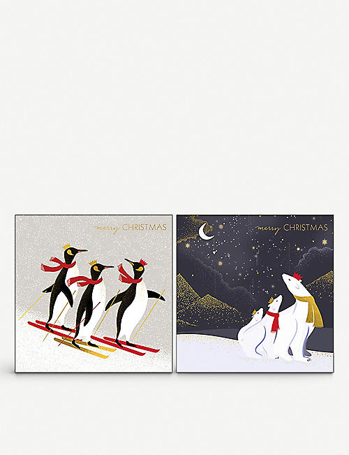 THE ART FILE: Pack of 8 skiing penguins greetings card 15x15cm