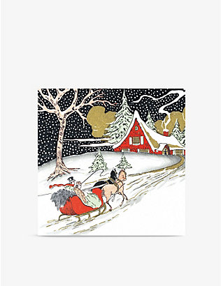 MUSEUMS + GALLERIES: Pack of 5 sleigh ride Christmas greetings cards 16.3cm x 16.3cm