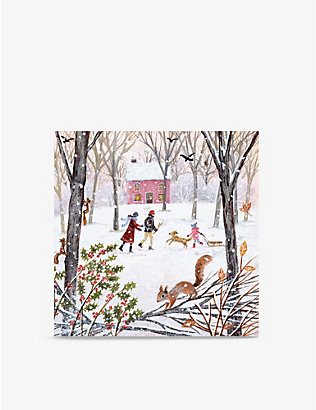 MUSEUMS + GALLERIES: Pack of 8 Winter-print greetings cards 16cm x 16cm