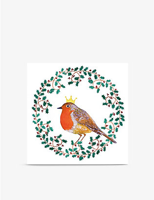 MUSEUMS + GALLERIES: Pack of 8 Wreath Robin Christmas greetings cards 13cm x 13cm