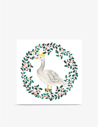 MUSEUMS + GALLERIES: Pack of 8 Wreath Goose Christmas greetings cards 13cm x 13cm