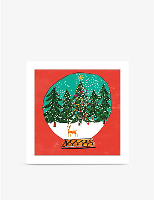 MUSEUMS + GALLERIES: Pack of 8 forest snow globe Christmas greetings cards 13cm x 13cm