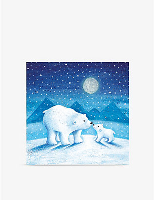 MUSEUMS + GALLERIES: Pack of 8 Moonlit Polar Bears Christmas greetings cards 13cm x 13cm