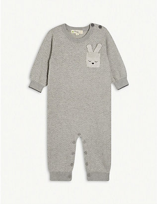 BONNIE MOB: Heart-embroidered cotton-blend baby grow 0-18 months