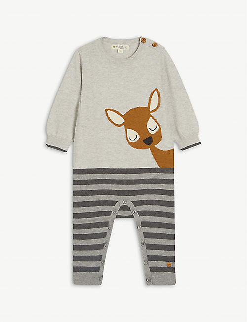 BONNIE MOB: Deer animal-print cotton-blend baby grow 0-18 months