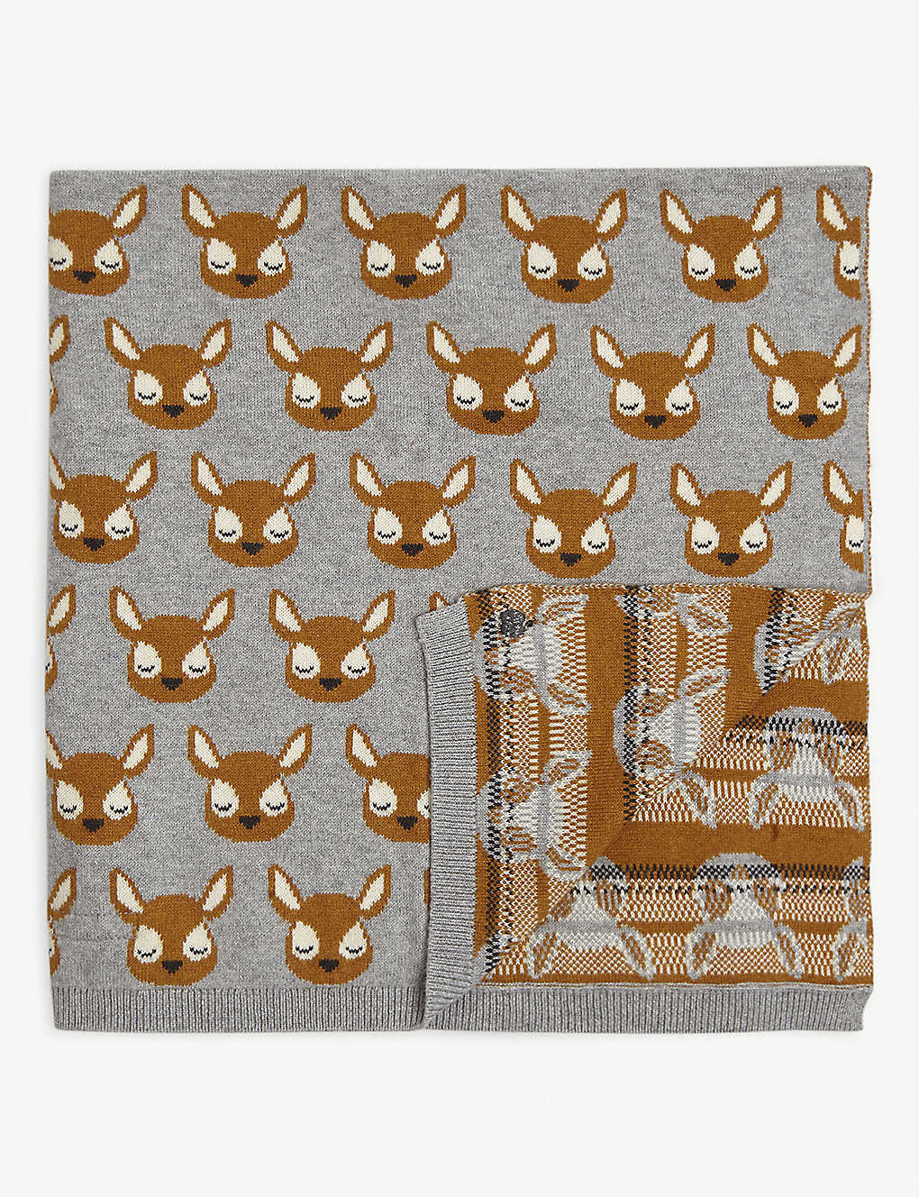 BONNIE MOB: Deer-patterned cotton-blend baby blanket