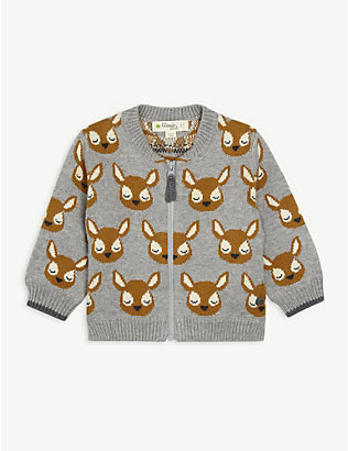 BONNIE MOB: Deer-patterned cotton-blend zip-front cardigan 3-24 months