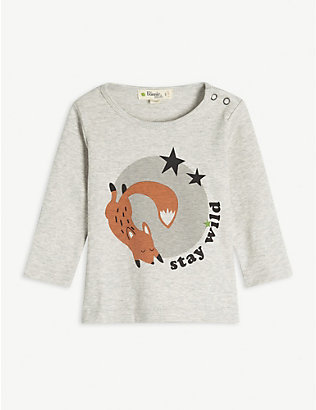 BONNIE MOB: Stay Wild fox printed organic cotton long sleeve T-shirt 3-24 months