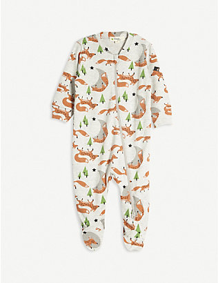BONNIE MOB: Fox print organic cotton baby grow 0-18 months