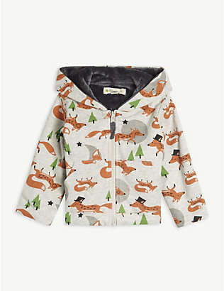 BONNIE MOB: Fox print organic cotton hoody 3-24 months