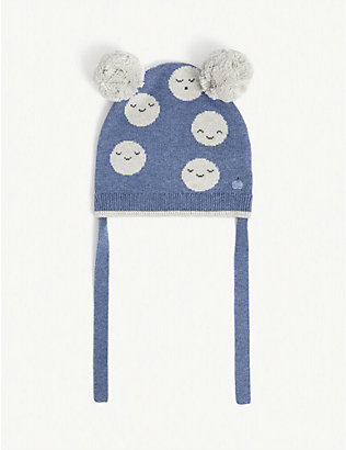 BONNIE MOB: Moon-pattern pom pom beanie hat 0-24 months