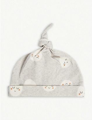 BONNIE MOB: Moon-print organic-cotton hat 0-24 months