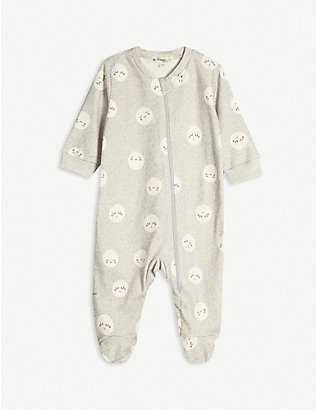 BONNIE MOB: Moon-print organic-cotton baby grow 0-12 months