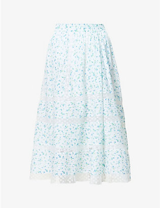 LOVESHACKFANCY: Eponda floral-print high-waist cotton midi skirt