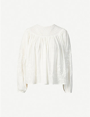 LOVESHACKFANCY: Tommy lace-panel cotton top
