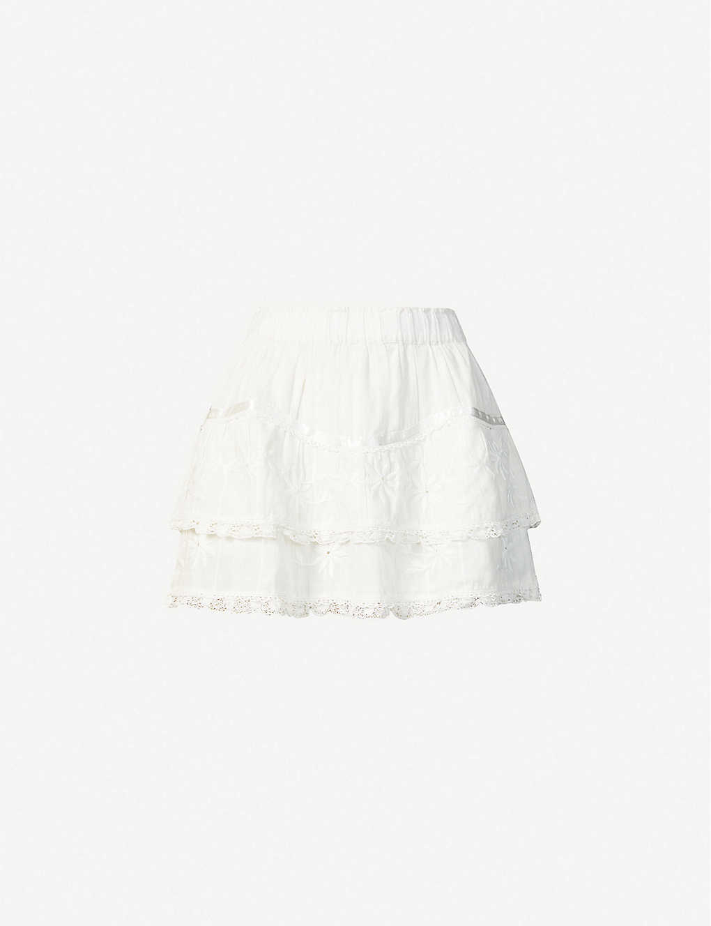 LOVESHACKFANCY: Tully tiered cotton mini skirt