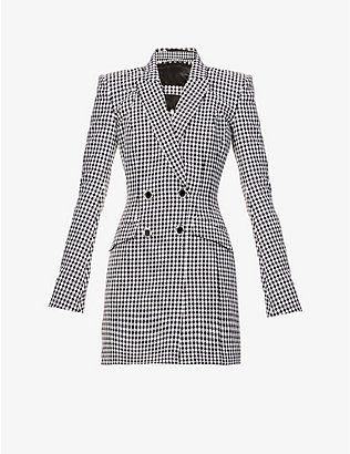 DAVID KOMA: Houndstooth-pattern double-breasted cotton and wool-blend mini dress