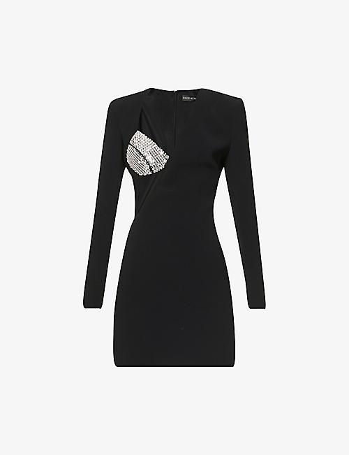 DAVID KOMA: Asymmetric beaded crepe mini dress