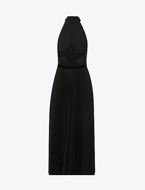 DAVID KOMA: Lace-panel cotton-blend midi dress