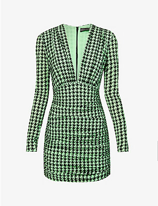 DAVID KOMA: Houndstooth-pattern stretch-knit mini dress