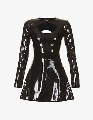 DAVID KOMA: Sequin-embellished stretch-woven mini dress