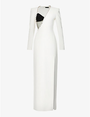 DAVID KOMA: Asymmetric-neck jewel-embellished crepe gown