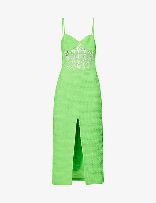DAVID KOMA: Beaded wool-blend midi dress