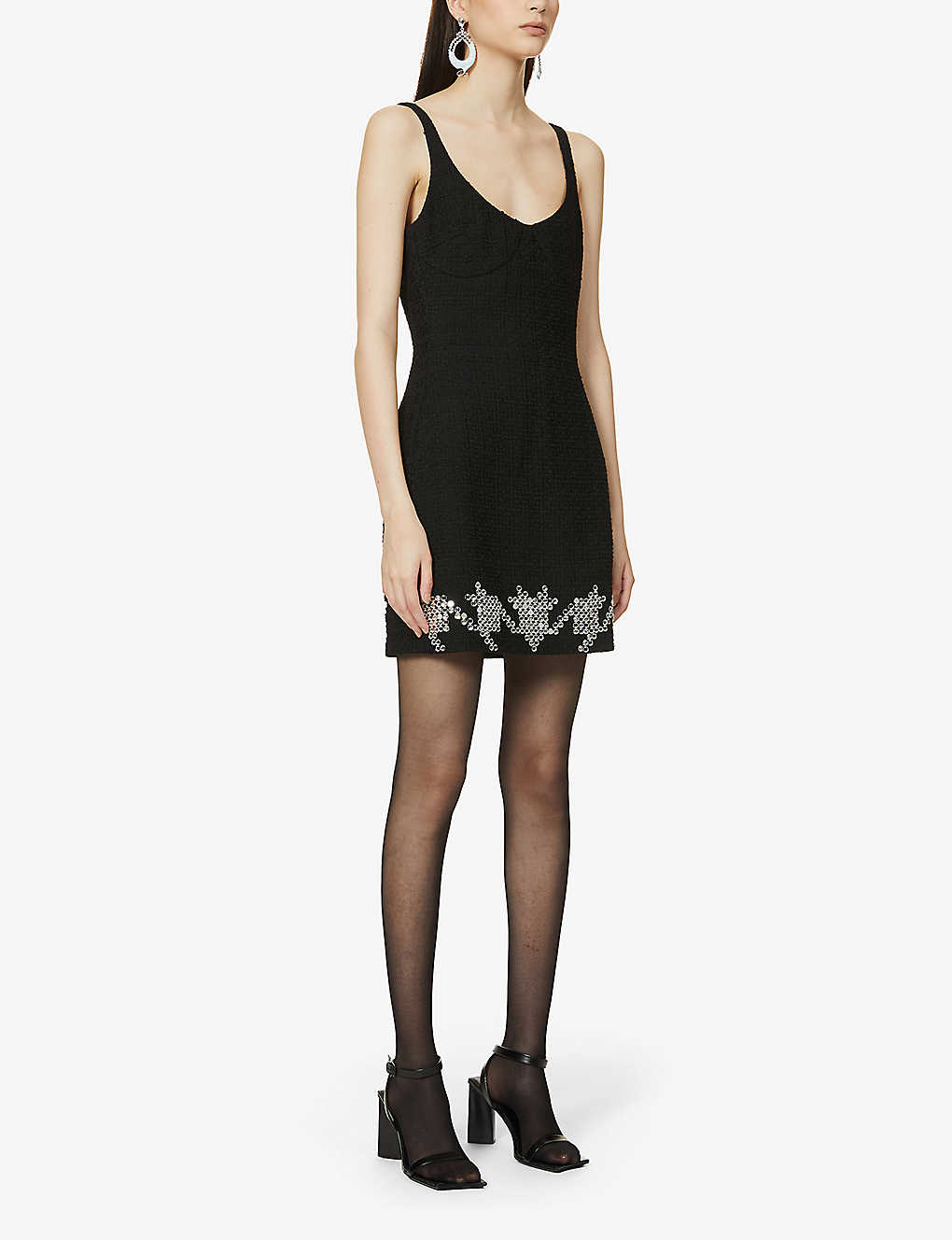 DAVID KOMA: Beaded wool-blend mini dress