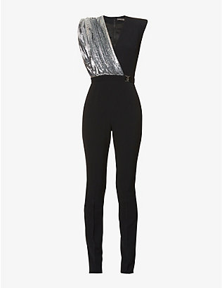 DAVID KOMA: Ruched and sequin-embellished panel crepe jumpsuit