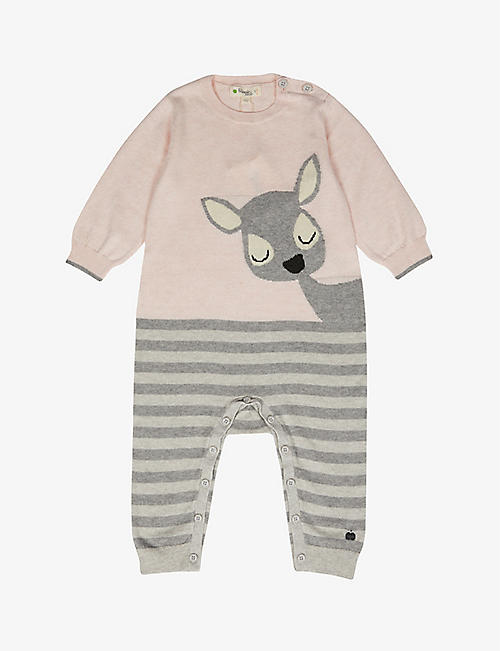 BONNIE MOB: Deer-graphic cotton and cashmere-blend knitted babygrow 0-18 months