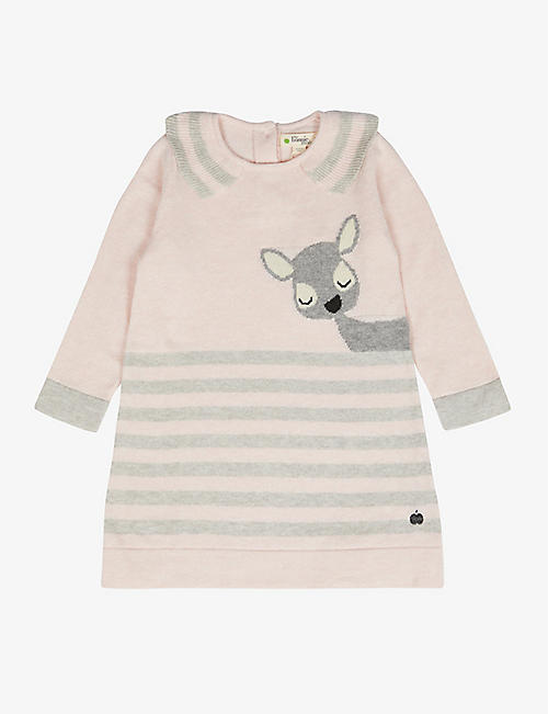 BONNIE MOB: Deer cotton and cashmere-blend knitted dress 6-24 months