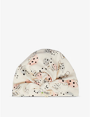 BONNIE MOB: Mushroom-print organic cotton hat 12-24 months