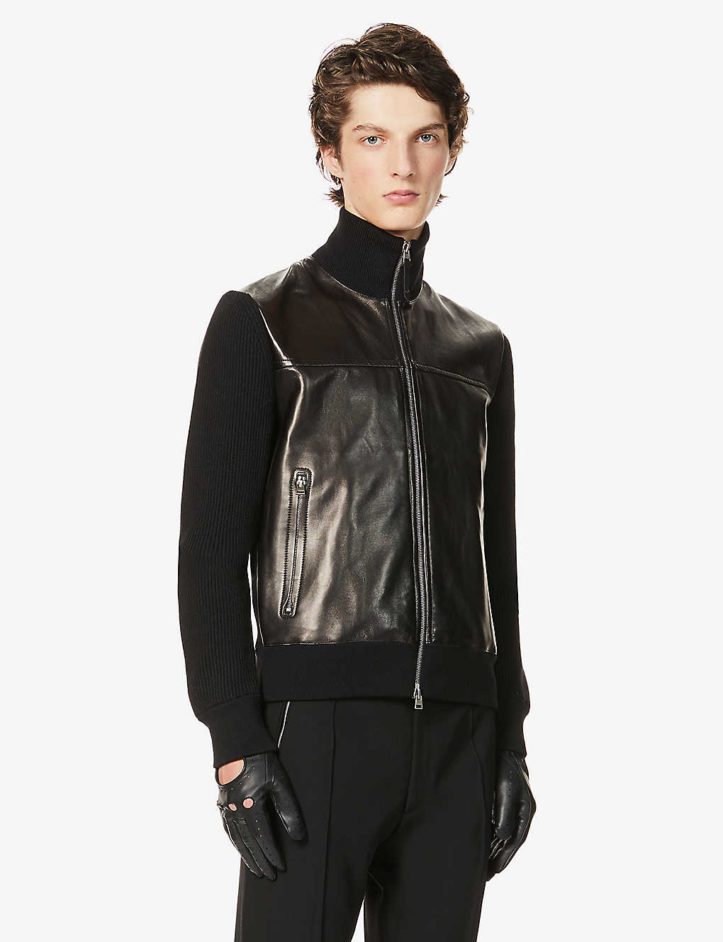 TOM FORD: Funnel-neck panelled leather and wool bomber jacket