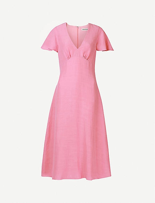 WHISTLES: Flared-sleeve woven midi dress