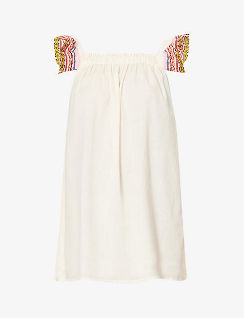 PITUSA: Tea Party frilled-trim cotton mini dress