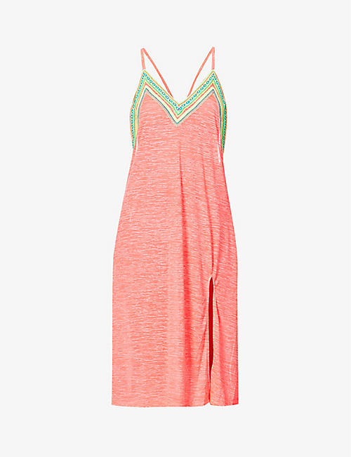 PITUSA: Graphic-print crochet-trim cotton-blend midi slip dress