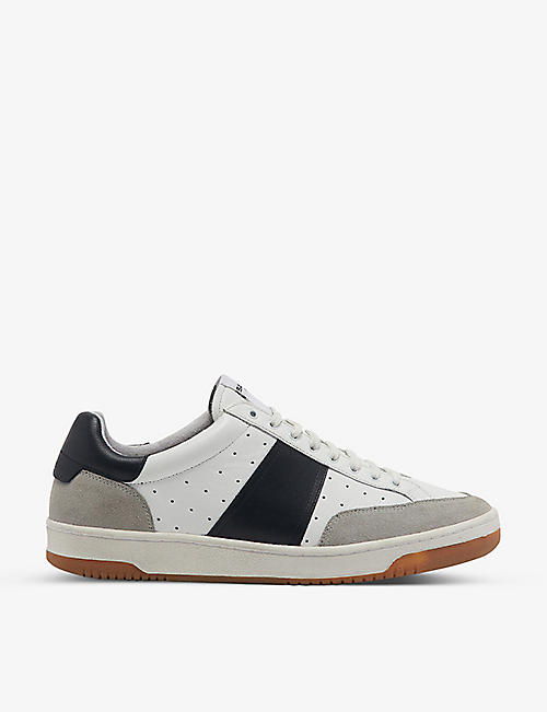 SANDRO: Magic leather and suede tennis trainers