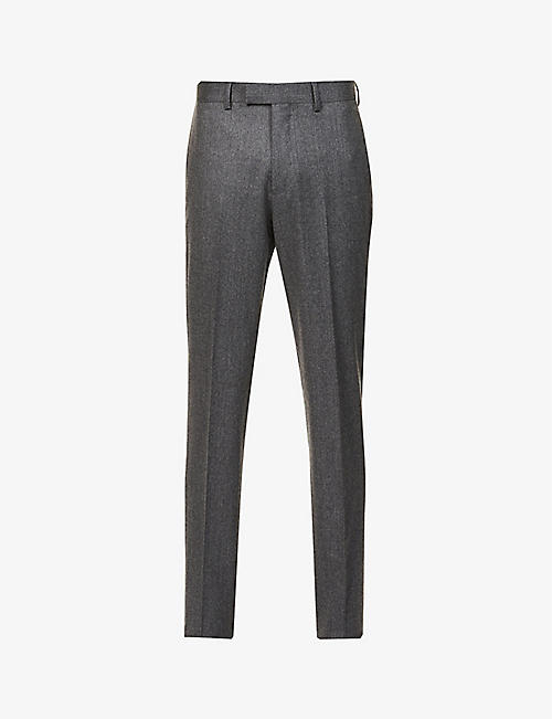 SANDRO: Slim-fit wool-flannel trousers
