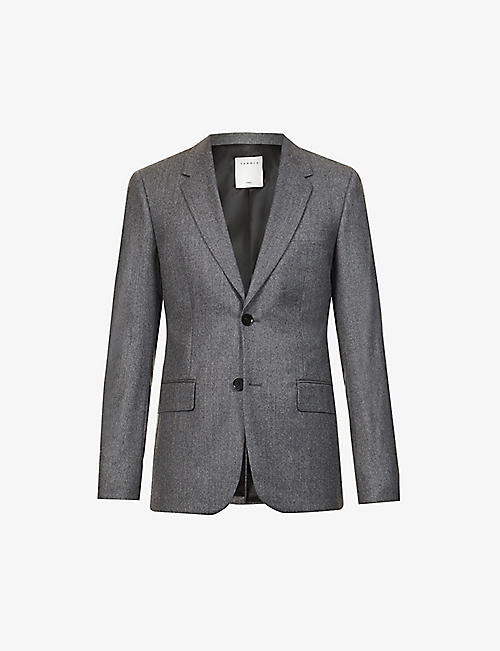 SANDRO: Single-breasted wool-flannel jacket