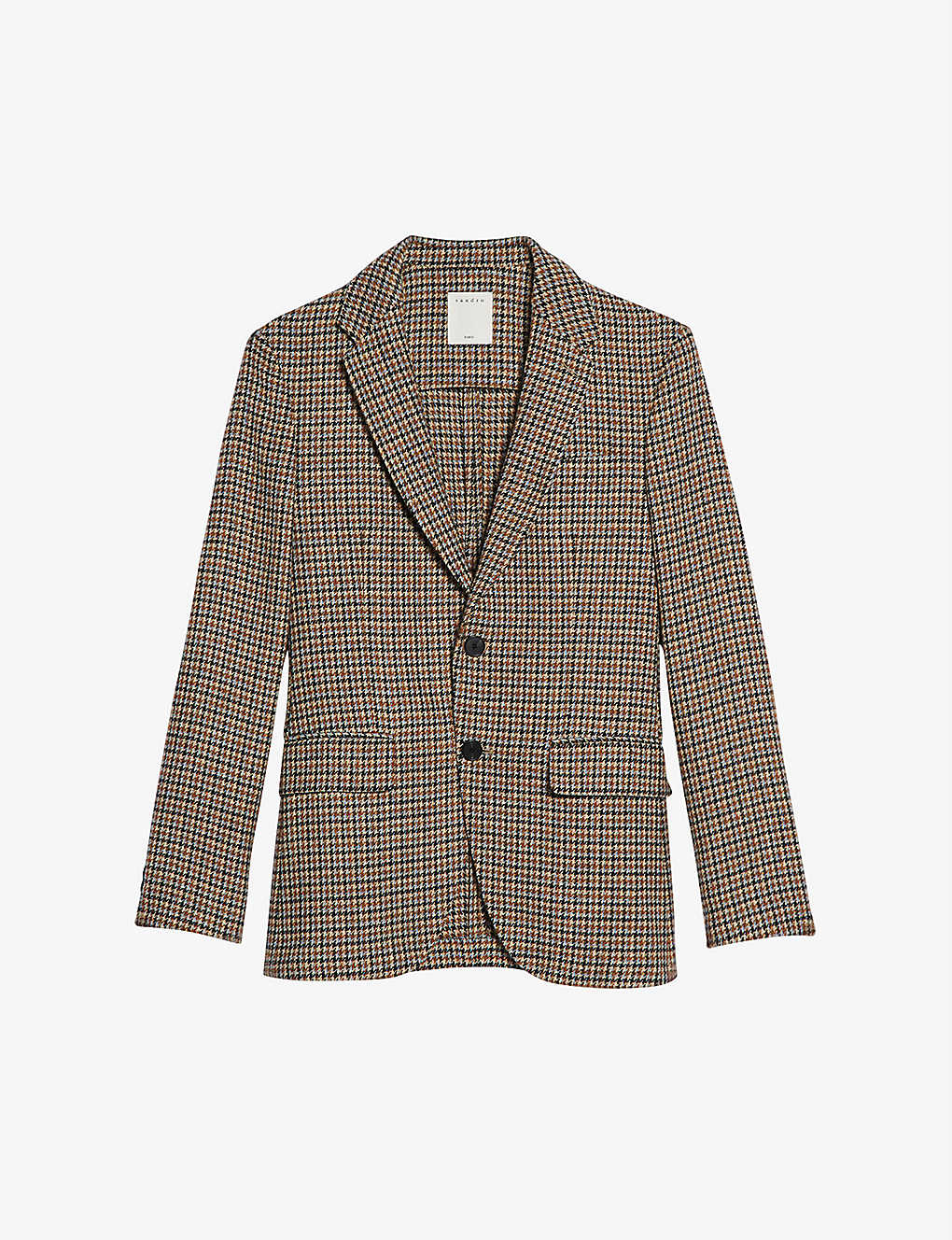 SANDRO: Houndstooth single-breasted wool jacket