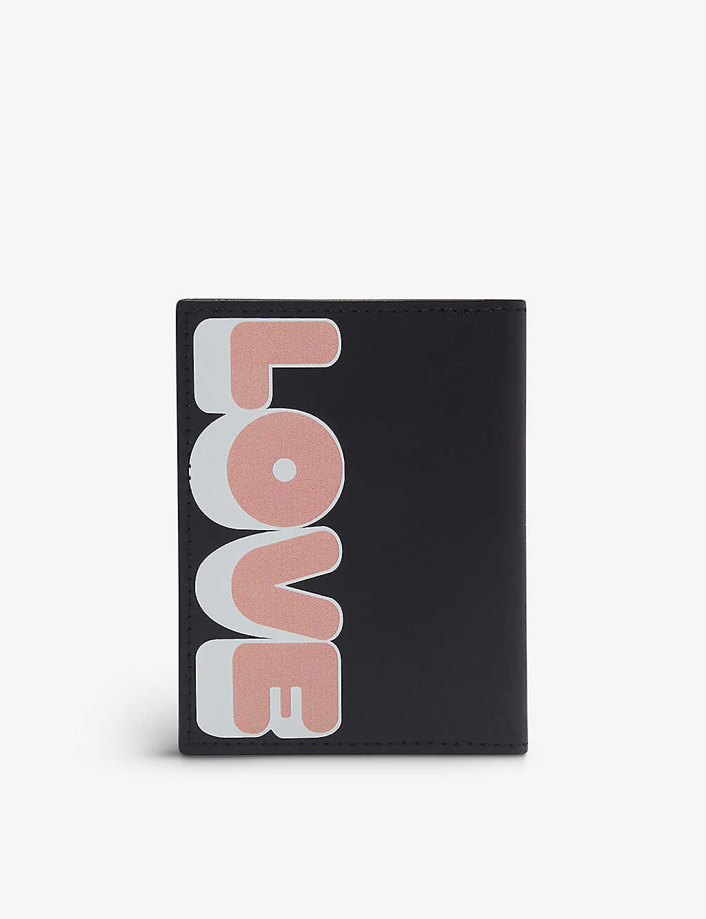 SANDRO: Love-print leather card holder
