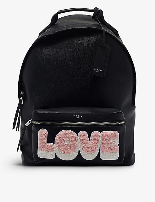 SANDRO: Slogan-print faux-leather backpack